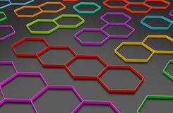 3D abstract honeycomb background. 3D generated colorful honeycomb illustration as a background Royalty Free Stock Photos
