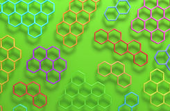 3D abstract honeycomb background. 3D generated colorful honeycomb illustration as a background Royalty Free Stock Photography
