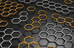 3D abstract honeycomb background. 3D generated golden and silver honeycomb illustration as a background Stock Images