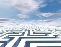 3d abstract horizontal background with maze and blue sky. Stock Photo