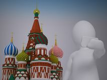 3d abstract human, white man taking selfie in front of st basil's cathedral on red square in moscow Royalty Free Stock Photography