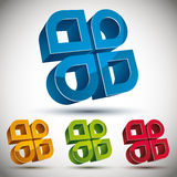 3d abstract icon with 4 elements, set. Stock Photos