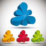 3d abstract icon with 6 petals. Royalty Free Stock Photo
