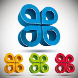 3d abstract icon with 4 petals. 3d abstract icon with 4 petals, vector set Royalty Free Stock Image