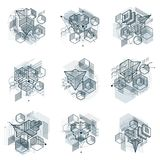 3d abstract isometric backgrounds. Layouts of cubes, hexa. Gons, squares, rectangles and different abstract elements. collection stock illustration