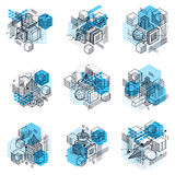 3d abstract  isometric backgrounds. Layouts of cubes, hexa. Gons, squares, rectangles and different abstract elements. Vector collection Stock Image
