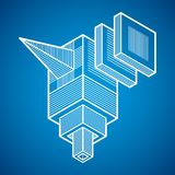 3d abstract isometric construction, vector polygonal shape. Artisic abstraction illustration Stock Photo