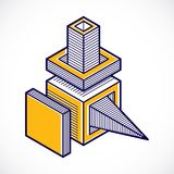 3d abstract isometric construction, vector polygonal shape.  Royalty Free Stock Images
