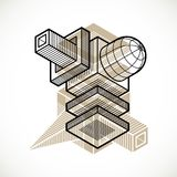 3d abstract isometric construction, vector polygonal shape. Modern geometric art illustration Stock Photo