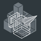 3d abstract isometric construction, vector polygonal shape. Geometric artistic composition. n Royalty Free Stock Photography