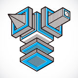 3d abstract isometric construction, vector polygonal shape. Stock Photo