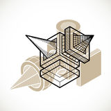 3d abstract isometric construction, vector polygonal shape. Modern geometric art composition Royalty Free Stock Photography