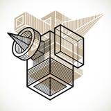 3d abstract isometric construction, vector polygonal shape. Modern geometric art illustration Royalty Free Stock Photos