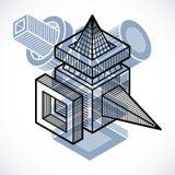 3d abstract isometric construction, vector polygonal shape. Stock Photos