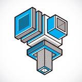 3d abstract isometric construction, vector polygonal shape. Modern geometric art illustration Stock Image