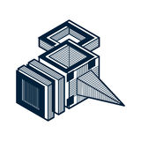 3d abstract isometric construction, vector polygonal shape. Royalty Free Stock Photos