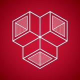 3d abstract isometric construction, vector polygonal shape. Modern geometric art illustration. n Royalty Free Stock Photos