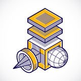 3d abstract isometric construction, vector polygonal shape. Stock Photography