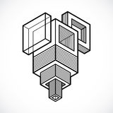 3d abstract isometric construction, vector polygonal shape. Royalty Free Stock Photo