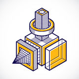 3d abstract isometric construction, vector polygonal shape. Royalty Free Stock Image