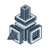 3d abstract isometric construction, vector polygonal shape. Royalty Free Stock Photography