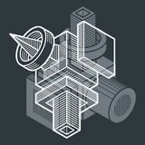 3d abstract isometric construction, vector polygonal shape. Modern geometric art illustration. n Royalty Free Stock Photo