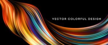 3d Abstract kleurrijk vloeibaar ontwerp Vector illustratie Stock Illustratie