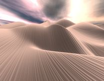 3d abstract landscape with textures dunes. 3d abstract landscape with sand dunes and clody sky. Render illustration Stock Photography