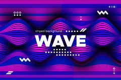 3d Striped Colorful Banner. 3d Abstract Linear Banner. Striped Ripple Background with Distortion and Movement Effect. Wave Template in Blue and Pink Colors royalty free illustration