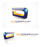 3d abstract logo. 3d logo with abstract element shape Stock Photos