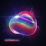 3D abstract loop shape of particles. 3D abstract loop shape of rainbow illuminated particles with lens flare optical light effect. Futuristic vector illustration Stock Photography