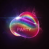 3D abstract loop shape of particles. 3D abstract loop shape of rainbow illuminated particles with lens flare optical light effect. Futuristic vector illustration Stock Photo
