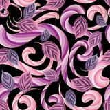 3d abstract modern floral seamless pattern. Interesting vector ornamental leafy background. Striped fantasy pink violet purple colors flowers, lines, curves Stock Photo