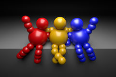 3D abstract multicolored. 3D abstract  Ballman multicolored characters  on a dark background Stock Images