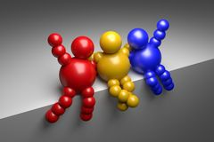 3D abstract multicolored. 3D abstract  Ballman multicolored characters  on a grey background Stock Images