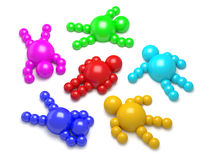 3D abstract multicolored. 3D abstract  Ballman multicolored characters  on a white background Royalty Free Stock Photo