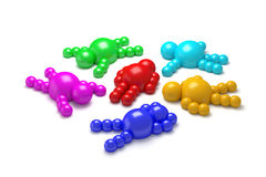 3D abstract multicolored. 3D abstract  Ballman multicolored characters  on a white background Stock Photo