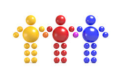 3D abstract multicolored. 3D abstract  Ballman multicolored characters  on a white background Stock Image