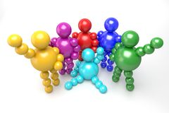 3D abstract multicolored. 3D abstract  Ballman multicolored characters  on a white background Royalty Free Stock Images