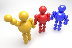 3D abstract multicolored. 3D abstract  Ballman multicolored characters  on a white background Stock Photography