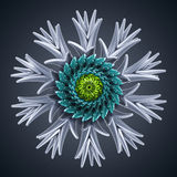 3d abstract organic flower snowflake star shape. 3d abstract organic shape, virus macro, cybernetic flower or star Stock Image