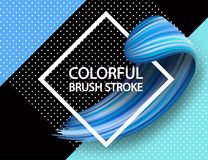 3d abstract paint brush stroke. Colorful modern background. With liquid paint brush texture, smear paint. Liquid fluid design, geomertrical background Royalty Free Stock Photo