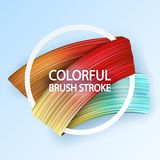 3d abstract paint brush stroke. Colorful modern background. With liquid paint brush texture, smear paint. Liquid fluid design. Rainbow colors Stock Photo