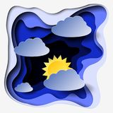 3d abstract paper cut illlustration of clouds and sun. Vector colorful template in carving art style. Eps10 royalty free illustration