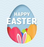 3d abstract paper cut illustration of colorful paper art easter rabbit, grass, flowers and egg hunt. Happy easter greeting card template in paper art style Royalty Free Stock Photography