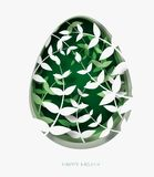 3d abstract paper cut illustration of colorful paper art easter grass, flowers and green egg shape. Royalty Free Stock Photo