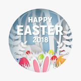 3d abstract paper cut illustration of colorful paper art easter rabbit, grass, flowers and egg hunt. Happy easter greeting card template in paper art style Royalty Free Stock Photos