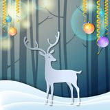 Merry Christmas 3d abstract paper cut illustration of deer in forest. Greeting card. Origami winter season. Happy New Year. Paper. 3d abstract paper cut Royalty Free Stock Photo