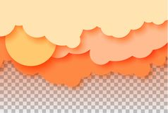 3d abstract paper cut illustration of pastel orange sky, sun and clouds. Vector colorful template. 3d abstract paper cut illustration of pastel orange sky, sun Stock Photography