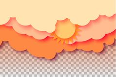 3d abstract paper cut illustration of pastel orange sky, sun and clouds. Vector colorful template. 3d abstract paper cut illustration of pastel orange sky, sun Royalty Free Stock Image